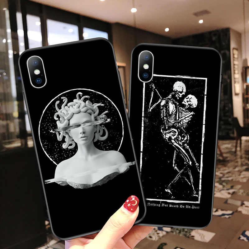 النفط الطلاء ل فون 6 6s 7 8 زائد X XR XS ماكس 5 5s SE جراب هاتف الأزياء مجردة الفن تمثال روز رسمت لينة TPU ل فون X