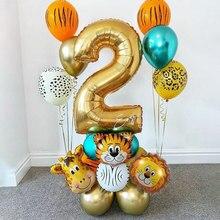 Juego de globos de animales de Safari para niños, conjunto de globos de látex de 32 pulgadas, número dorado, decoración para fiesta de cumpleaños, Baby Shower y jungla, 1Set