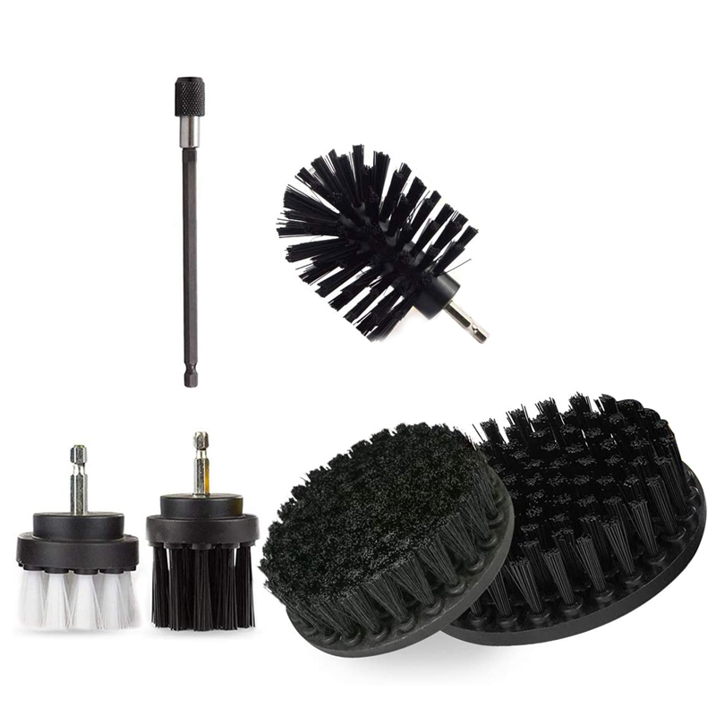 6-Part Drill Brush, with 6 Inch Extended Attachment for Tile Sealant, Sink, Floor