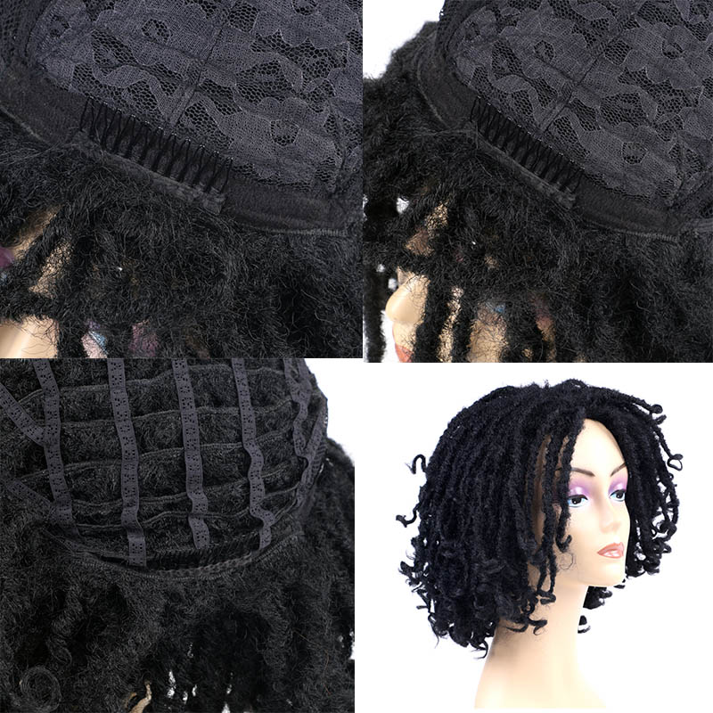 Saisity Medium Part Synthetic Dreadlocks Hair Wig for African Women Black Brown Bug Ombre Crochet Soul Locs Braids Wigs