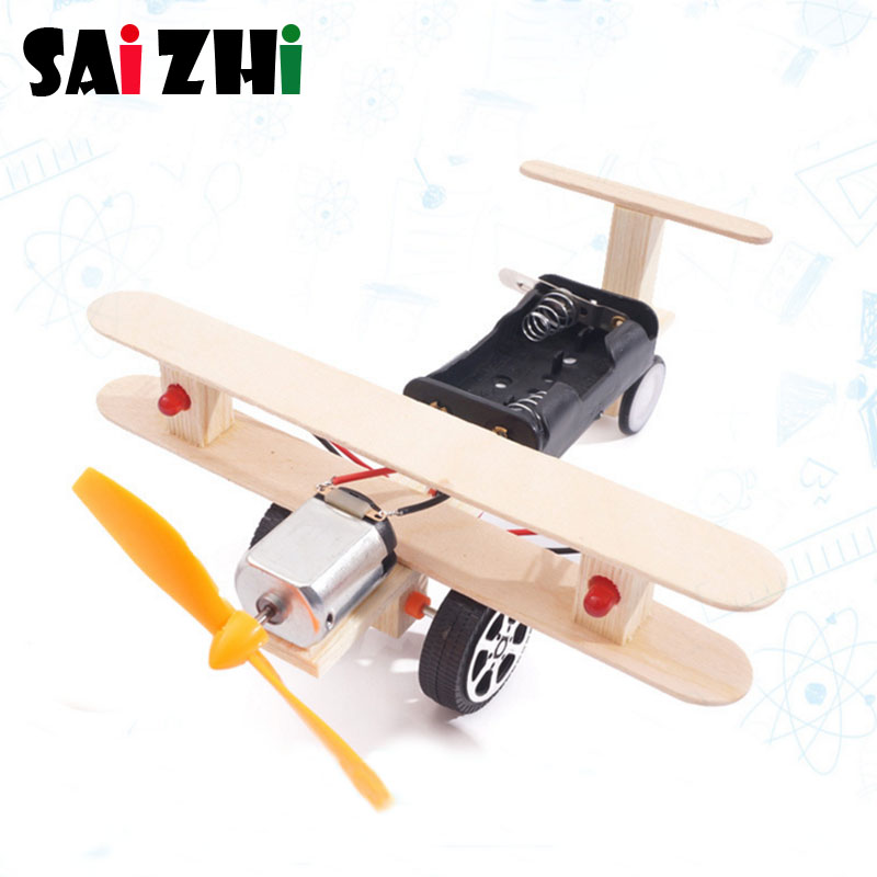 Saizhi Science Toy Diy Double Lights Taxiing Aircraft  Developing Intelligent Toy STEM Electric Toy Birthday Gift SZ3329