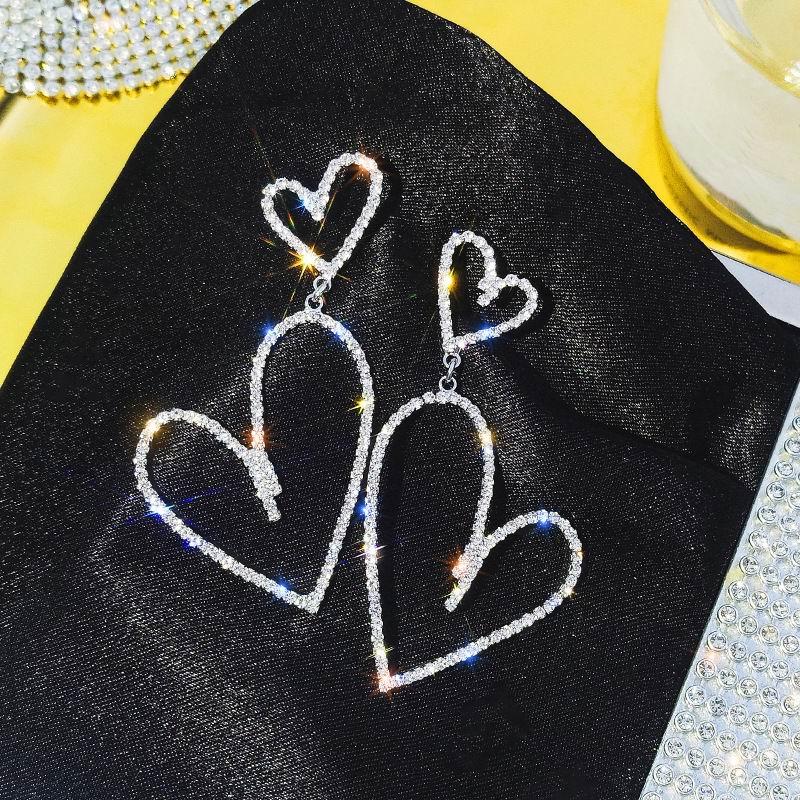 Top Design New Heart Drop Earrings For Women 2019 Big Shinning Rhinestone Party Jewelry