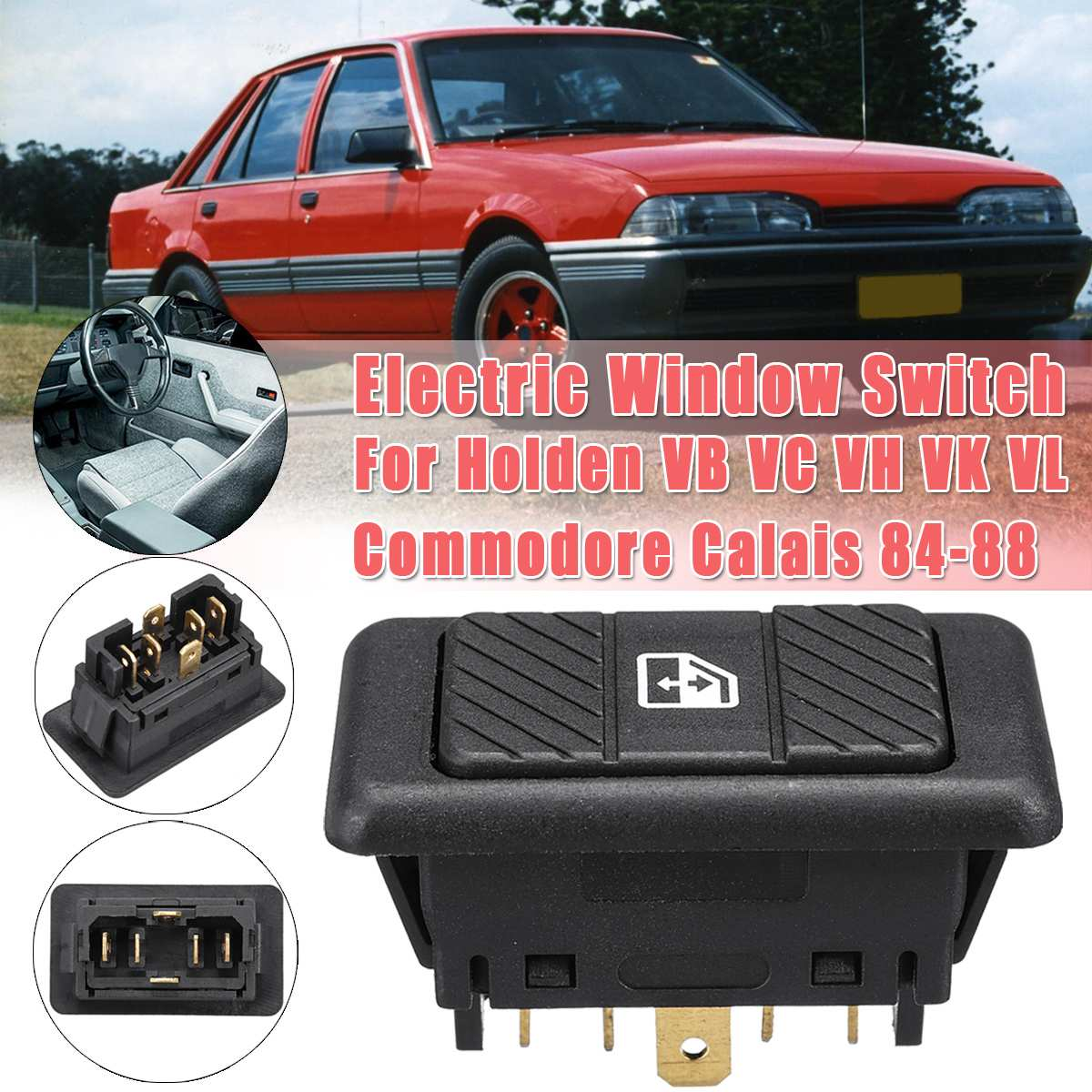 6 Pins Car Single Electric Window Toggle Switch For Holden VB VC VH VK VL Commodore Calais 84-88 BWASWPW04