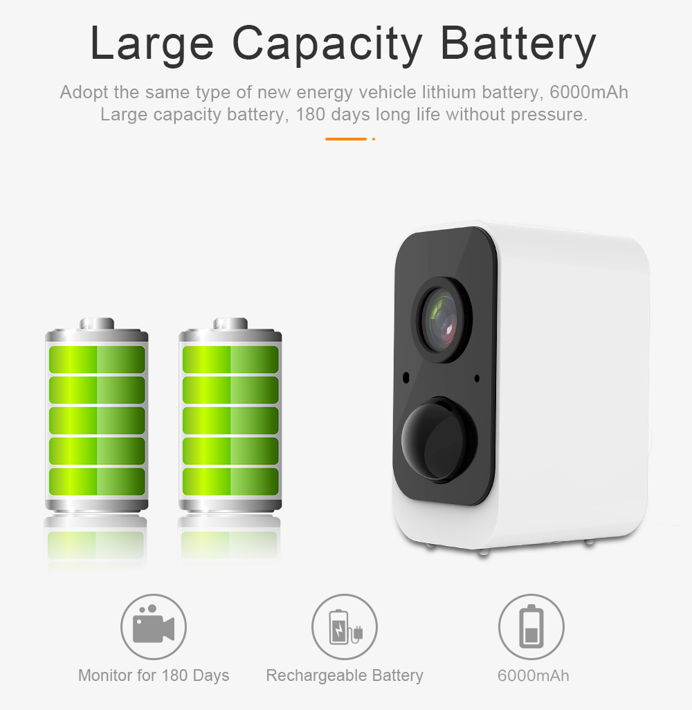 6000mAh Wi-Fi Battery Built-In Outdoor Indoor 100% Wire-Free Wireless CCTV Battery Powered Security Camera 1080P Full HD IR
