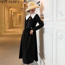 France Style Vintage Black Dress Women Long Sleeve Long Shirt Dress Spring Sexy