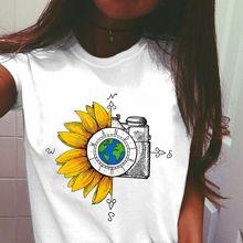 Camiseta gráfica de acuarela para Mujer, camiseta Vintage con brújula del mundo y flores para Mujer, camiseta informal para Mujer