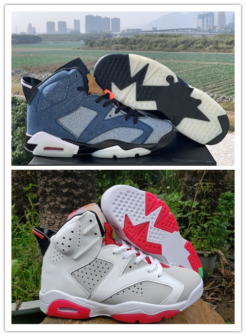 2020 New Top 6s Bred Mens Basketball Shoes 6 Washed Denim Hare The Cowboy High Quality Sports Sneakers Man Shoe Size 7 - 13