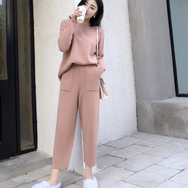 Knitted 2 Pieces Set Tracksuits Women 2019 Autumn Winter Thick Warm O-neck Loose Sweater+Ankle-Length Pants Warm Cashmere Suit