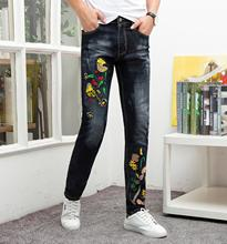 Brand jeans men straight ripped distressed 3d bird embroidery homme denim trousers plus size 29-38 black slim fit male jeans european and american style slim straight jeans new brand colorful cloth stitching hole water wash denim trousers size 29 38