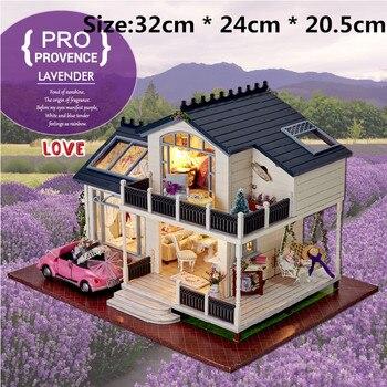 DIY dom dla lalek miniaturowe Puzzle zabawki kreatywny domek dla lalek dla LOL lalki drewniane meble klocki romantyczny urodziny prezenty