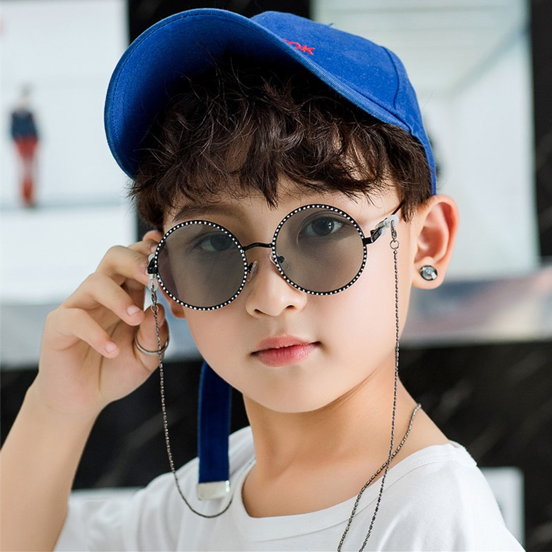XojoX Fashion Round Children Sunglasses Boys Girls Metal Frames Patterned Temples Designed For Kids Comfortable UV400 Goggles