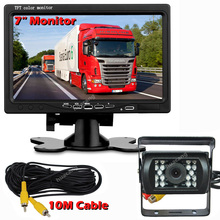 купить Reversing Image Kit for Harvester School Bus Trailer RV Truck 7-inch LCD Monitor 12-24V Rear View Night Vision Infrared Camera дешево