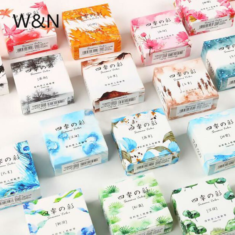 4 Seasons Flower Plants Washi Tape Color Stationery Decorative Adhesive Tape Scrapbooking Photo Album School Tool Notepad Paper