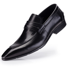 Italian Men Dress Shoe Party Genuine Cow Leather Formal Shoes Wedding Shoes Men Flats Oxfords Slip On Fashion Loafers new men genuine leather party dress shoes breathable fashion wedding casual male flats cow leather split loafers soft black