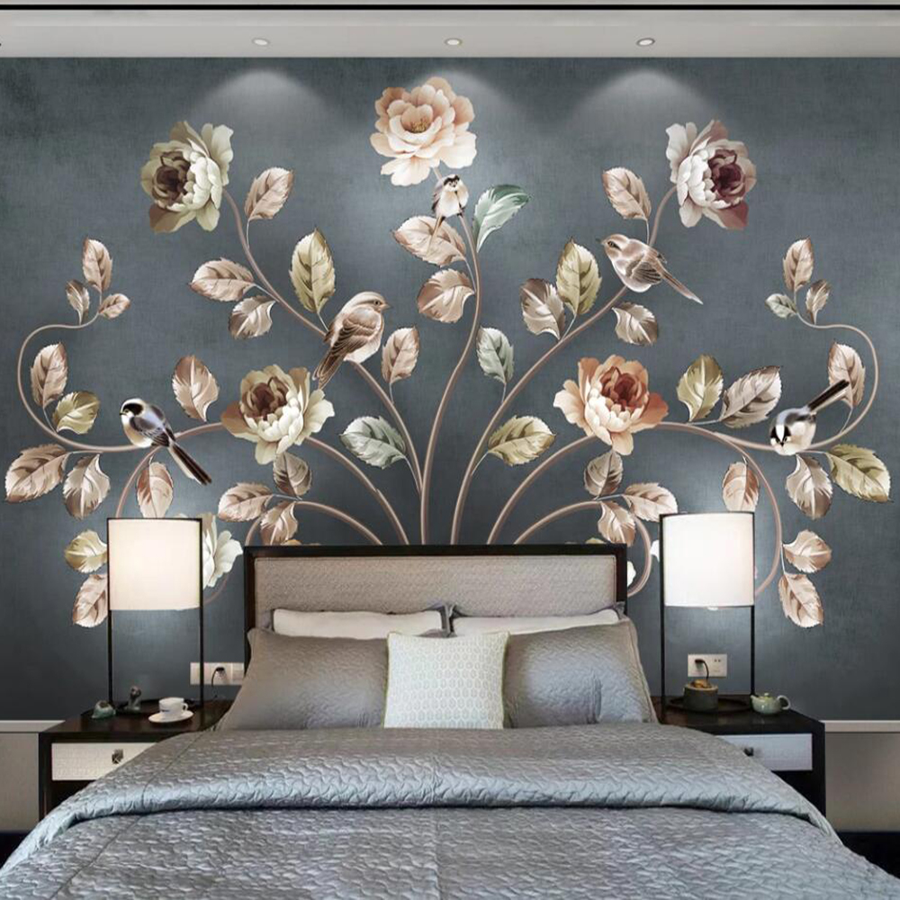 Drop Shipping Custom 3D Photo Wallpaper Nordic Art Flower And Bird Living Room Sofa Wall Painting Decorative Mural Wallpaper