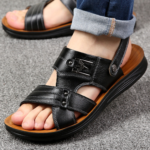 Summer casual shoes men sandals 2019 fashion solid pu leather slip-on indoor & outdoor sandals men shoes slip-on beach man shoes Karachi