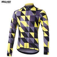 ARSUXEO Männer der Winter Fleece Radfahren Jersey Pro Team Langarm Moutain Bike Fahrrad MTB Jersey Radfahren Kleidung Warme ZFS