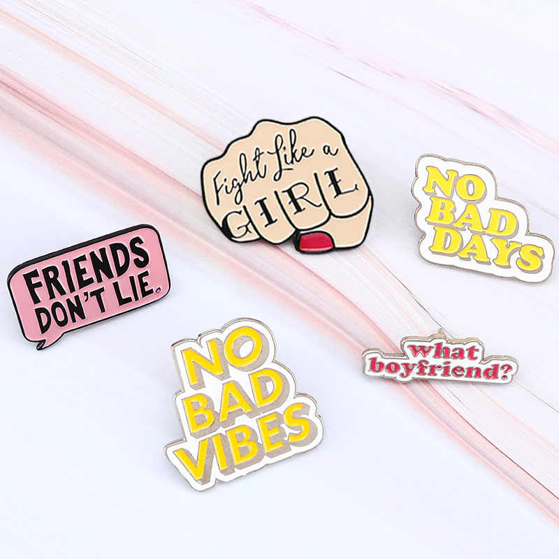 สตรีนิยม Pins อ้าง PIN Girl Power คนแปลกหน้าไม่ดี VIBES ป้าย Pin Lapel เสื้อกระเป๋าการ์ตูนเครื่องประดับของขวัญ