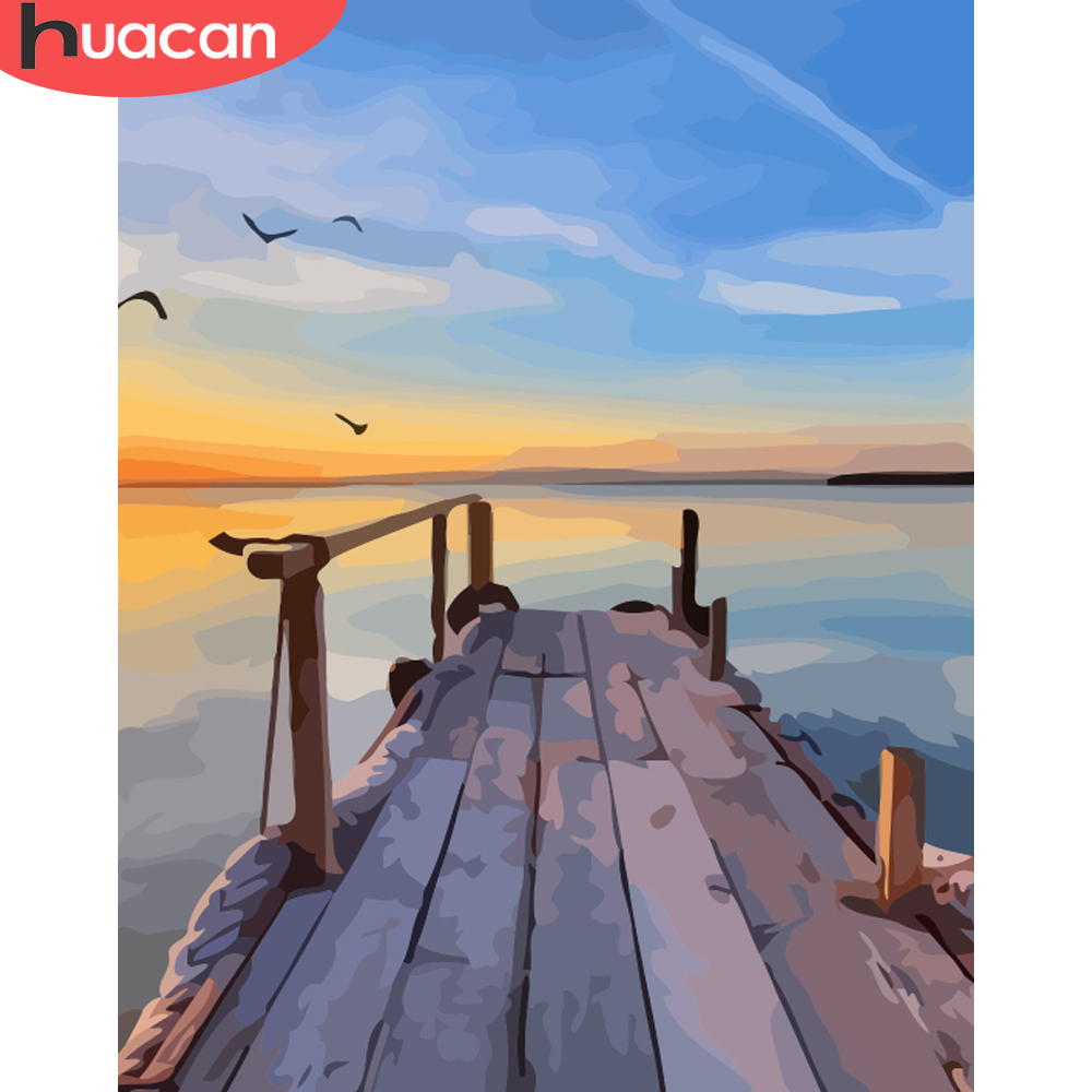 HUACAN Picture By Numbers Landscape Sunset Acrylic Drawing Canvas Castle Painting For Adult Wall Art DIY Home Decor