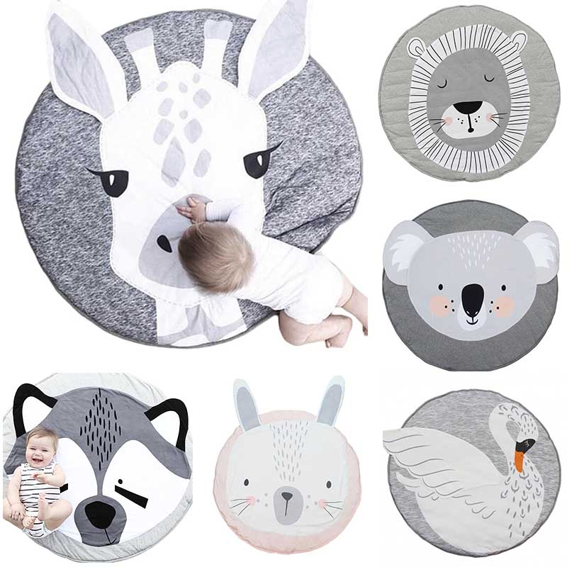 Cute Cartoon Baby Crawling Pad Round Child Play Game Mat Children Developing Carpet Toys For Children Room Decor Photo Props