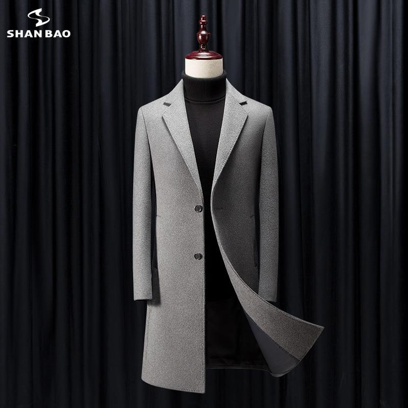 2019 winter new luxury high quality brand clothing business gentleman men's casual slim long wool coat light tan black gray