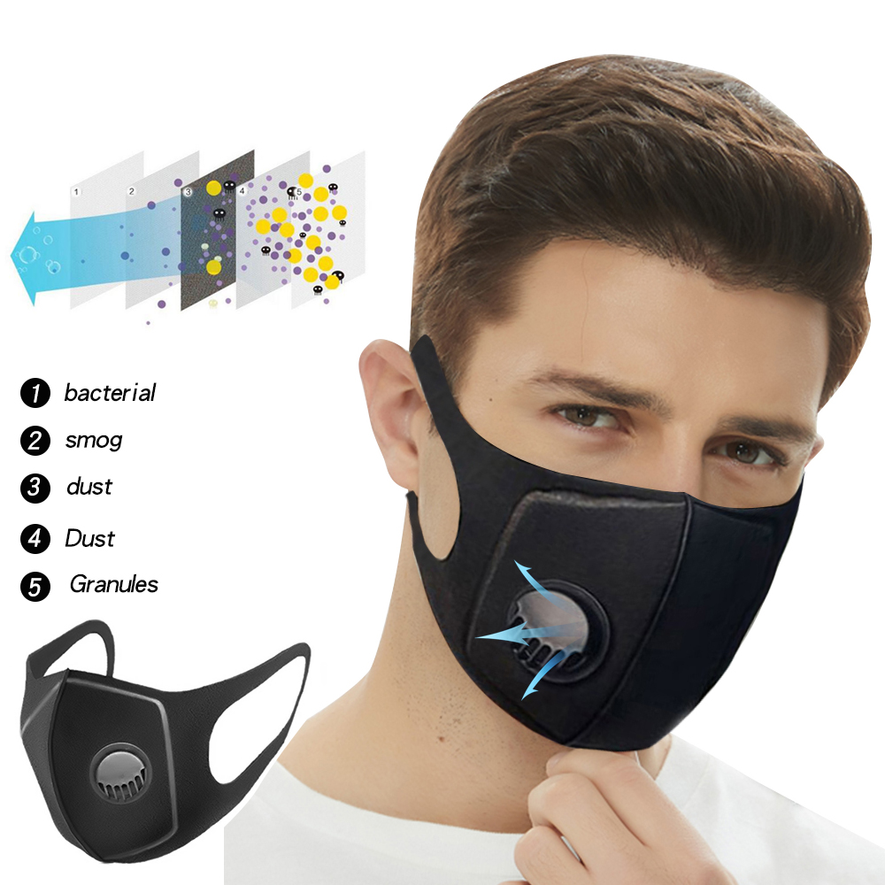 1Pcs Sponge Dust Masks Respirator Mask With Breath Valve Anti-Dust Anti Pollution Face Mouth Mask Breathable For Men Women
