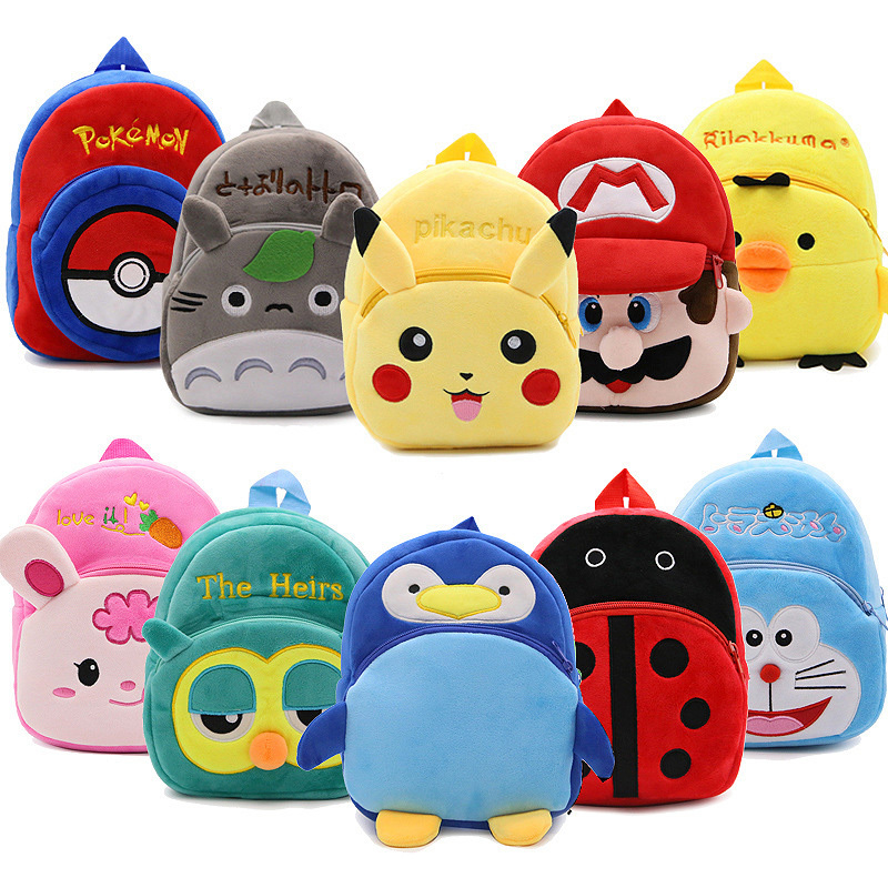 New Cartoon Anime Plush Backpack Baby Kids Kawaii School Bags Kindergarten Boys Girls Softback Bags For Children Chirstmas Gift