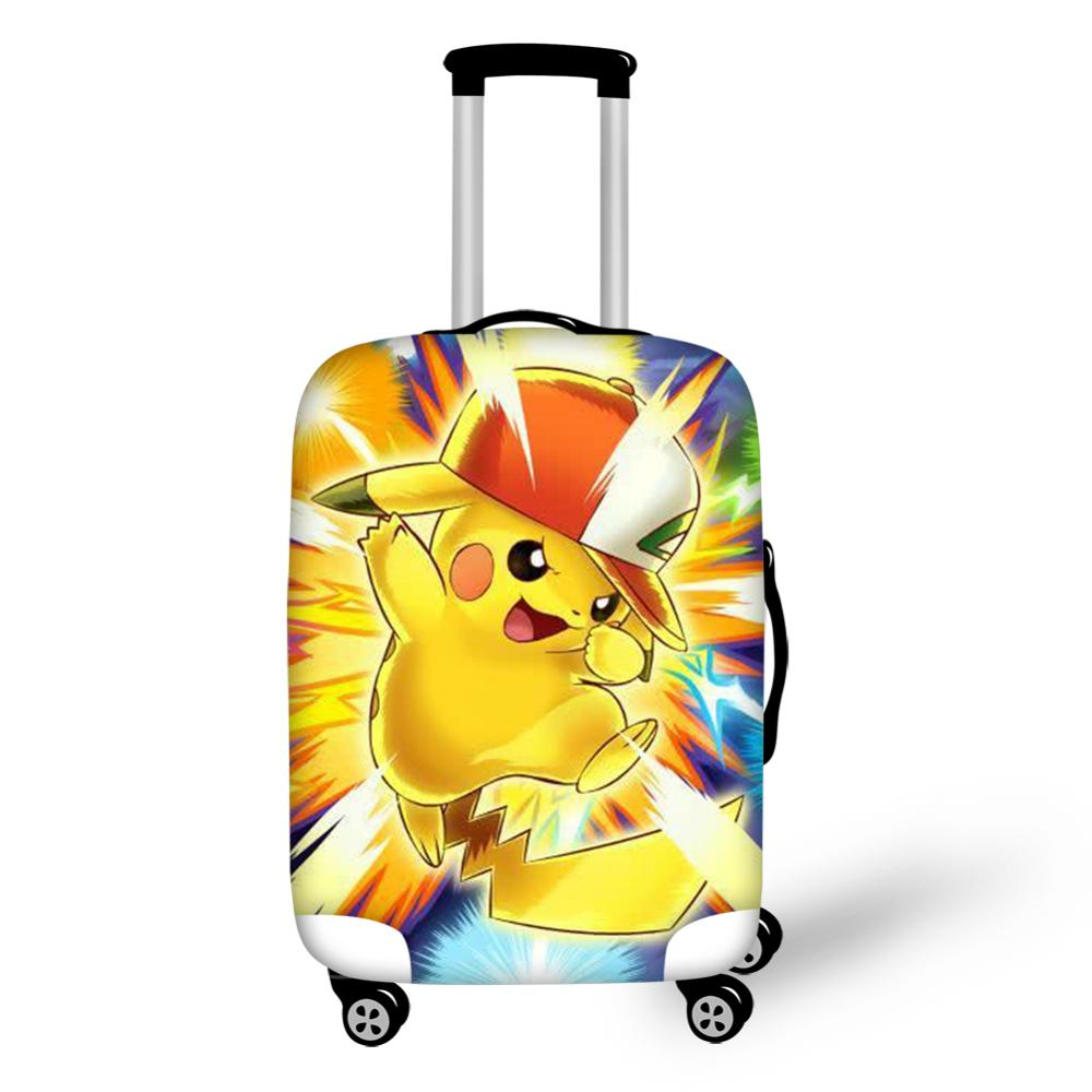 Elastic Luggage Covers for 18-32 inch Suitcase Pokemon Pikachu Print Travel Suitcase Protective Cover Luggage Accessories 2019