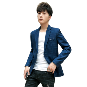 Image 2 - Yeni Slim Fit rahat ceket erkekler Blazer ceket tek düğme erkek takım elbise ceket sonbahar ekose ceket erkek Suite M 3XL damla kargo