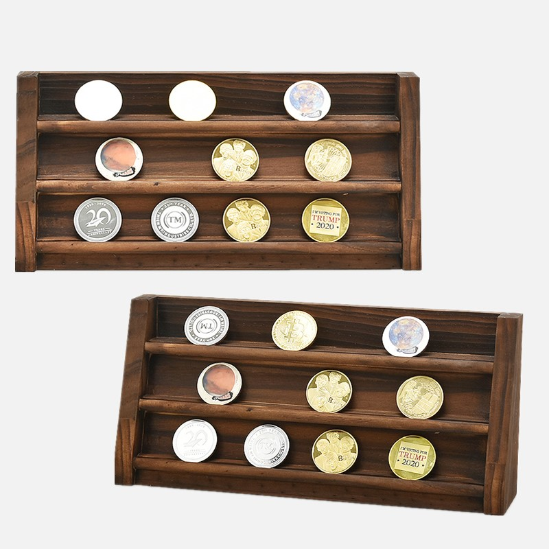 3 Rows Challenge Coin Holder Medal Storage Shelf Military Coin Display Stand Case Collector Box Desk Decor Gifts for Men