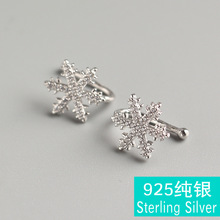 Fashion popular S925 sterling silver Japan and South Korea ladies pierced inlaid zirconium snowflake earrings sweet flowers gift