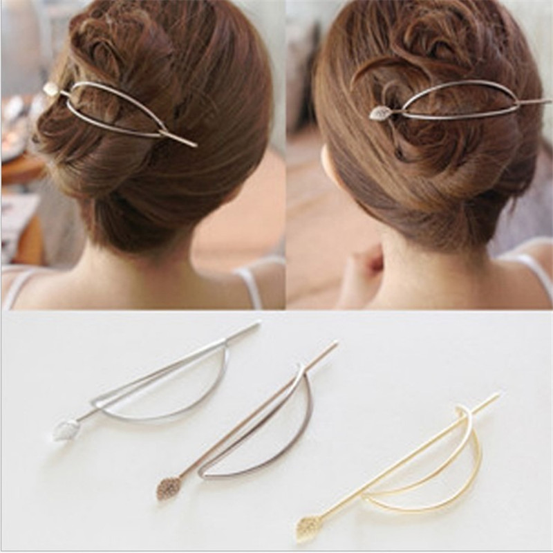 New Korean Fashion Hair Accessories Simple Oval Hollow Tree Leaves Hairpins Hair Korean Fashion Hair Clips Headwear 1pc