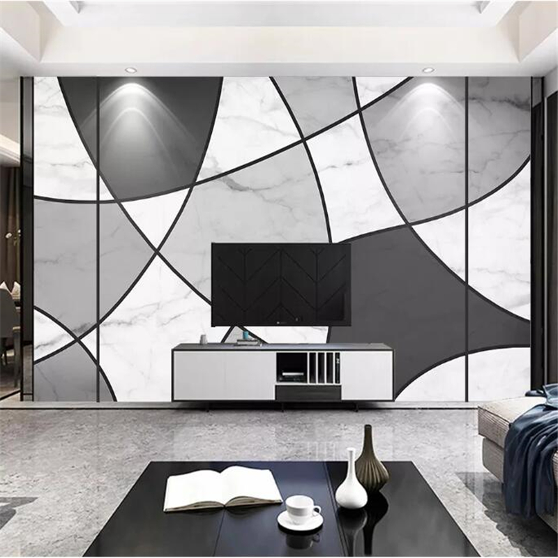 Wellyu Custom Wallpaper Original Modern Minimalist Black And White Lines Marble Texture Background Wall Papel De Parede Papie