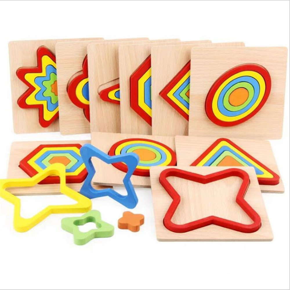 1 Set Color Children's Eometry Jigsaw Puzzle Toys Wooden Toys Kids Educational Toy Baby Cognition Learning Matching Toy Set New