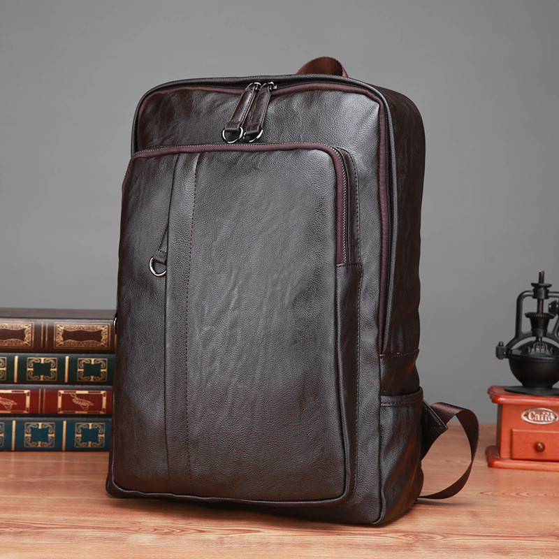 Genuine Leather New Men's Backpack Fashion Casual Large Capacity Computer Bag Business Travel Outdoors School Bag Pocket