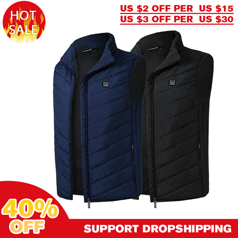 Cycling Vest Electric Vest Heated Cloth Jacket USB Thermal Warm Heated Pad Body Microcirculation Warmer Winter Cycling Vest