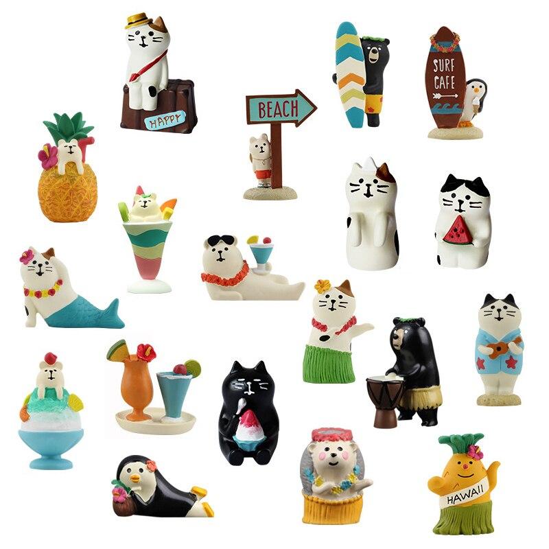 Японские Оригинальные летние фигурки в виде животных с изображением животных, пляжных танцев, ежика, медведя, русалки, кота