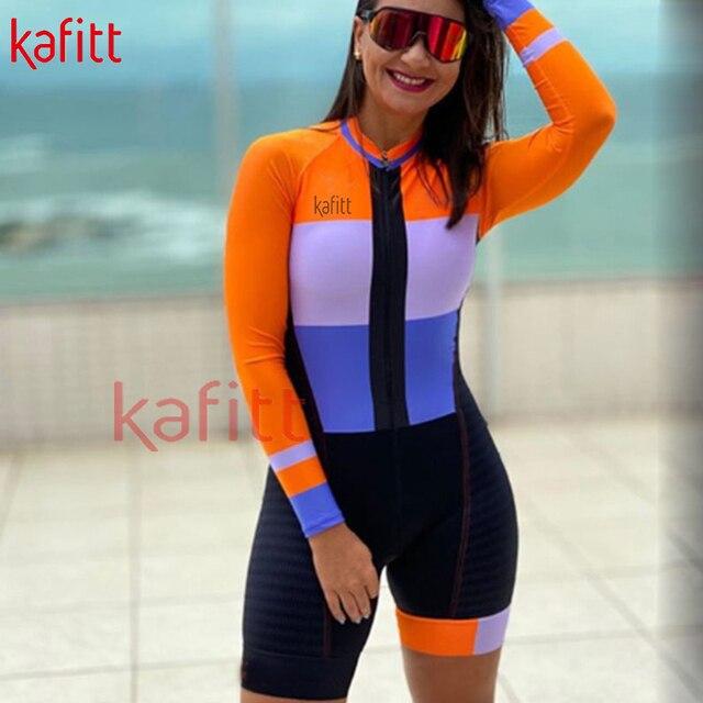 Cafete novo terno de ciclismo triathlon profissional das mulheres corrida equipe jérsei macacão manga longa apertado ciclismo terno 3