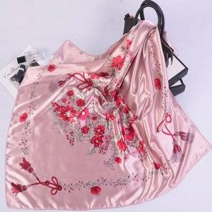 Image 2 - Silk Schal Frauen Druck haar hals Platz Schals Büro Damen Schal Halstuch 90*90cm Moslemisches Hijab Taschentuch schalldämpfer foulard