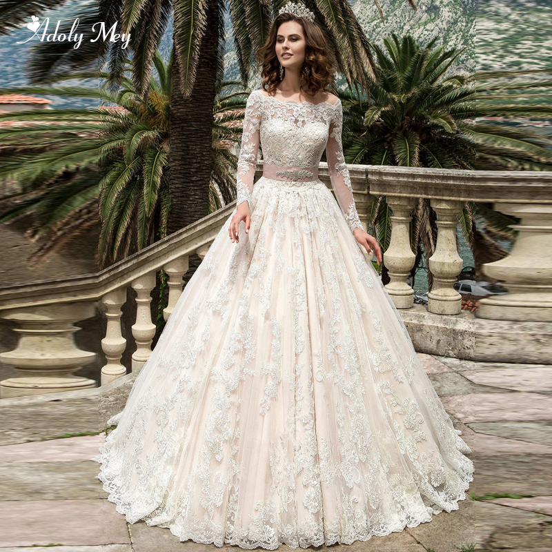 Adoly Mey Gorgeous Appliques Court Train A-Line Wedding Dress 2020 Luxury Boat Neck Long Sleeve Beaded Sashes Vintage Bride Gown