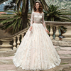 Adoly Mey Gorgeous Appliques Court Train A Line Wedding Dress 2020 Luxury Boat Neck Long Sleeve Beaded Sashes Vintage Bride Gown