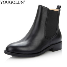 100% Leather Chelsea Ankle Boots Women Autumn Winter Ladies Low Heel Shoes A355 Fashion Woman Sewing Black Round Toe Short Boots cocoafoal woman genuine leather chelsea boots fashion sexy 9 cm high heel shoes black patent leather autumn winter boots 2018