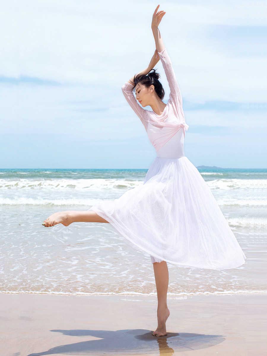 Siatka z długim rękawem gimnastyka trykot sweter taniec sukienka gaza dorosła kobieta balet baza odzież treningowa koszula