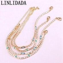 12Pcs 2019 fashion newest women bracelet eye enamel tennis cz link chain bracelet gold color lucky cute girl adjustable jewelry
