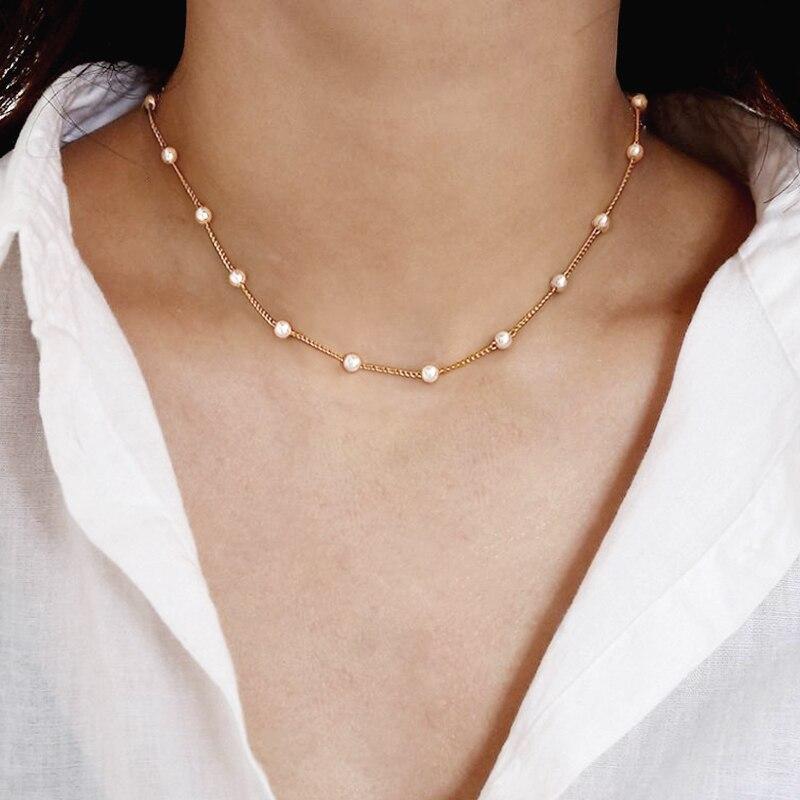 Простое готическое ожерелье чокер с жемчугом в стиле барокко для женщин, свадебное ожерелье чокер золотого цвета с бусинами в стиле панк, ювелирное изделие Колье    АлиЭкспресс - Топ аксессуаров с Али