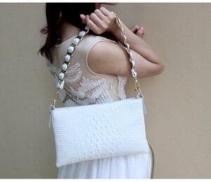 Image 5 - Sacs à bandoulière en cuir véritable motif Crocodile blanc pour femmes, bourse et sac à main pour dames