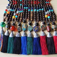 Boho Tassel Vintage Necklace Enthic Long Handmade Nepal Wood Beads Women Tassel Pendants & Necklaces Jewelry Gifts(China)