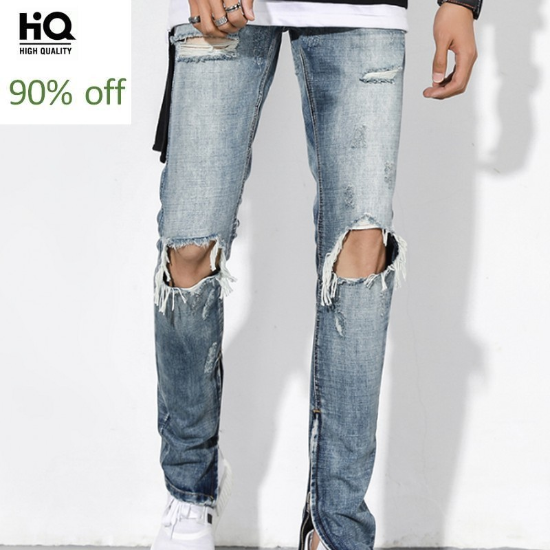 High Street Hole Ripped Jeans For Men 2020 Classic Washed Slim Fit Side Zipper Trousers Autumn Retro Beggar Pants Men Streetwear