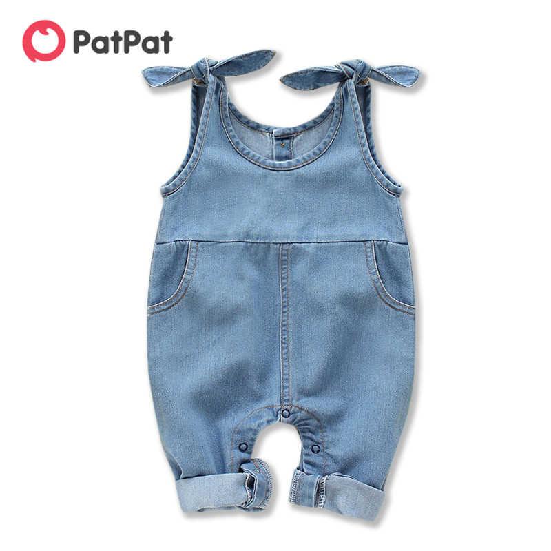 PatPat 2020 Neue Frühling Sommer Baby Jungen und Mädchen Denim Hosenträger Jeans 0-1 jahre Ein Stück Lange bein overall