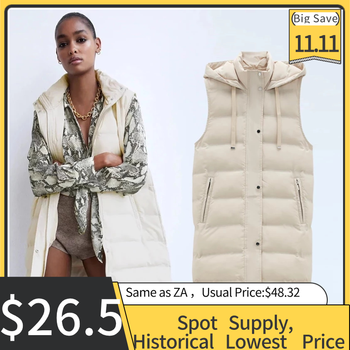 Winter Women ZA Vest Coats 2020 New Zipper Hooded Down Cotton Jacket Parkas Female Warm Thick Big Pocket Outwear